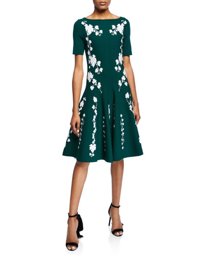 Short-Sleeve Floral Knee-Length Dress