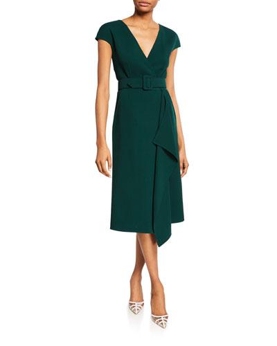 c0e2b3677c Short-Sleeve V-Neck Belted Day Dress Quick Look. Oscar de la Renta