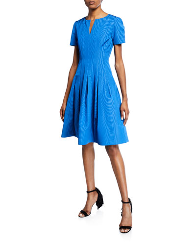 Short-Sleeve Wave Moire Faille Cocktail Dress