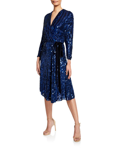 Long-Sleeve Wrapped Beaded Cocktail Dress