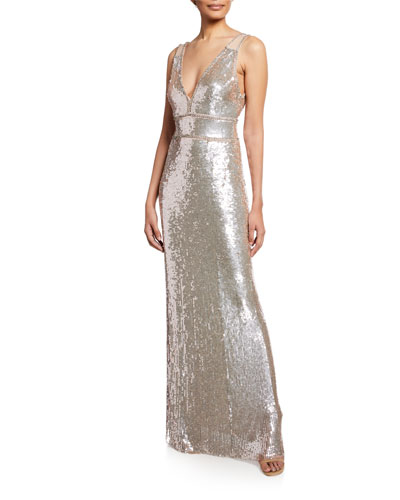 Sleeveless Sequined Deep V Gown