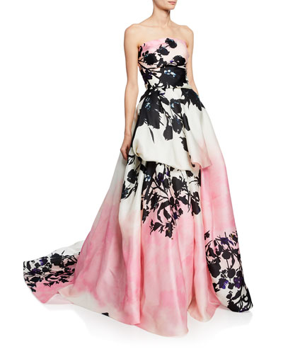 Strapless Floral-Print Silk Ball Gown