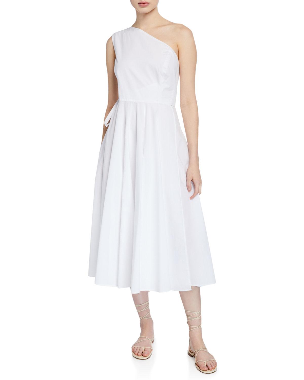 Rosetta Getty Dresses ONE-SHOULDER MIDI TIE-WAIST DRESS