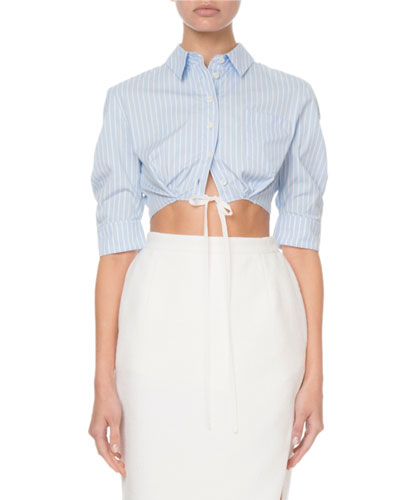 Pinstriped Cropped Button-Front Top