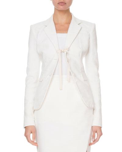 Textured Tie-Front Blazer