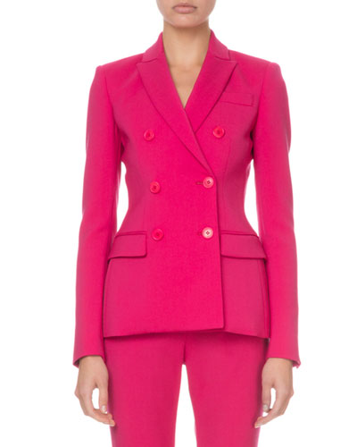 Double-Breasted Stretch-Wool Blazer, Pink