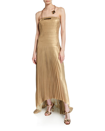 Pleated Strapless Gown with Golden Necklace