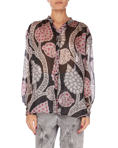 Daws Long-Sleeve Summer-Night Print Blouse