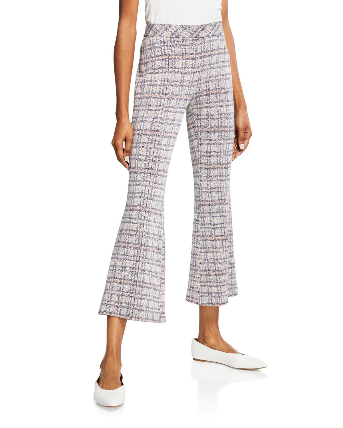 Rosetta Getty Pants PLAID JERSEY PULL ON CROPPED PANTS