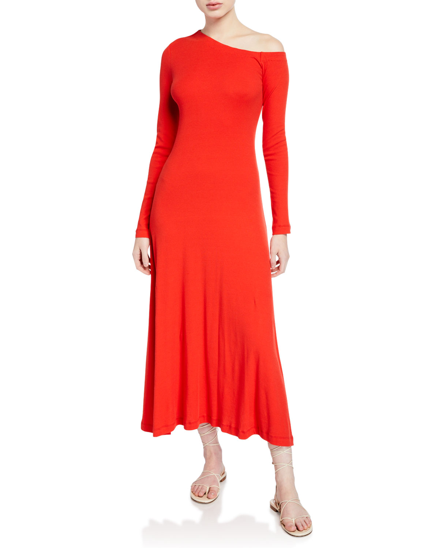 Rosetta Getty Dresses ONE-SHOULDER LONG-SLEEVE FLARE DRESS