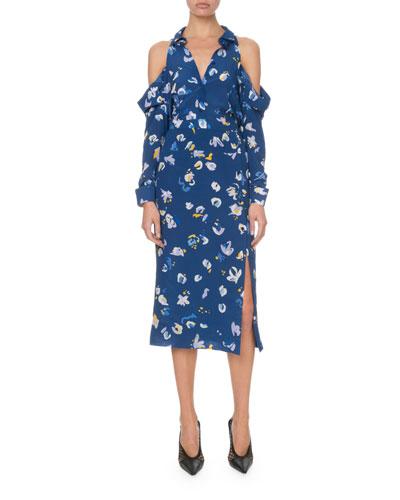 Cold-Shoulder Painterly Floral Shirtdress