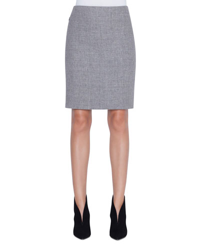 Linen-Wool Pencil Skirt