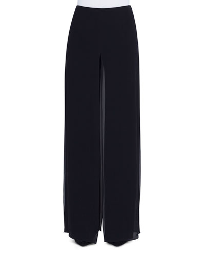 Carmen Wide-Leg Silk Georgette Pants