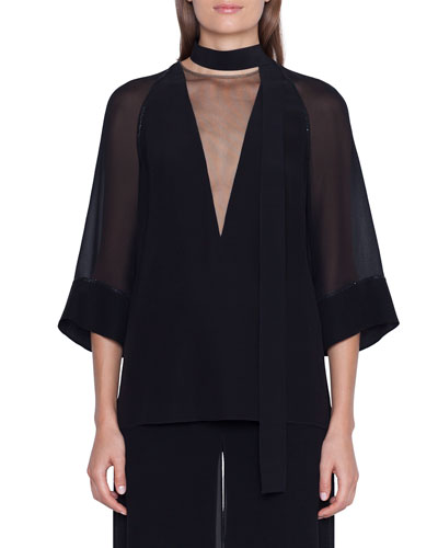 Sheer-Silk Illusion V-Neck Kimono Top