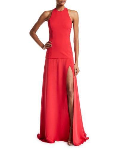 Sleeveless Drop-Waist Gown w/ High Slit