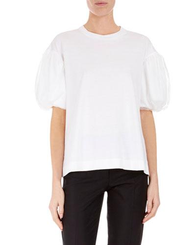 Crewneck Tulle Puff-Sleeve T-Shirt