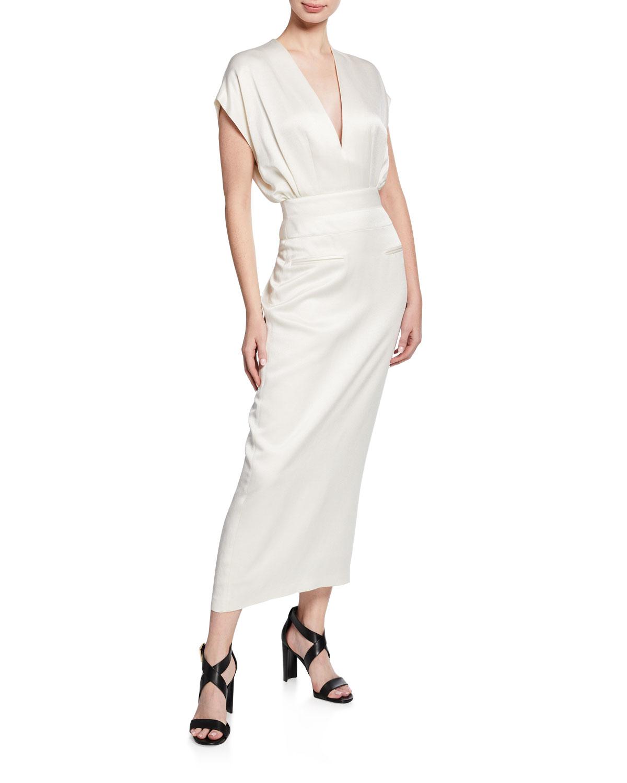 Derek Lam Dresses V-NECK SHORT-SLEEVE DRESS WITH TAPERED SKIRT