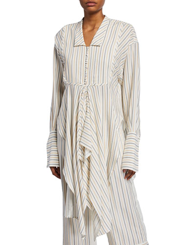 Striped Handkerchief Button-Front Shirt
