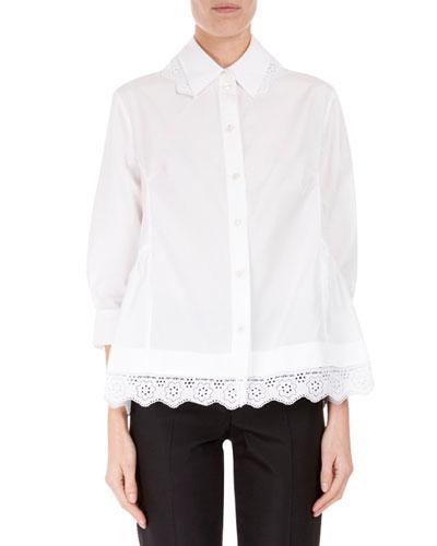 3/4-Sleeve Lace-Trim Boyfriend Shirt