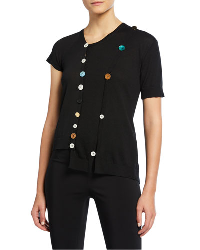 Asymmetric Button-Front Sweater