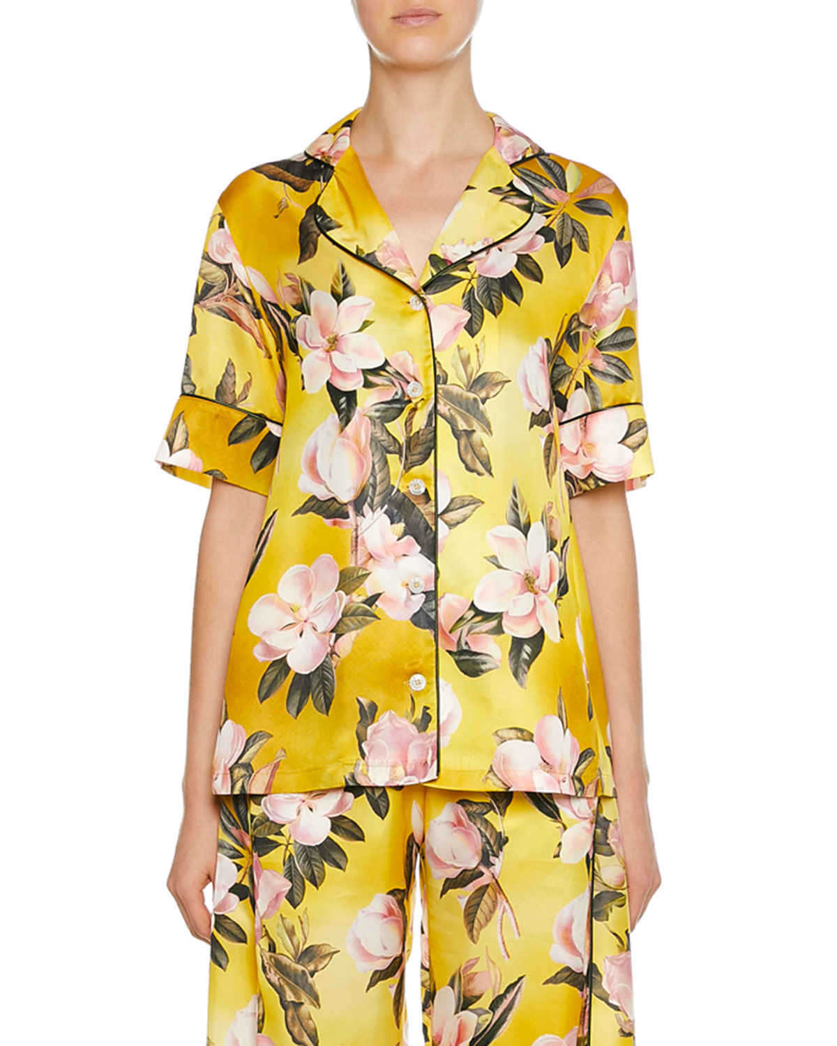 F.R.S FOR RESTLESS SLEEPERS Bendis Caotine Plumeria Print Blouse in Yellow Pattern