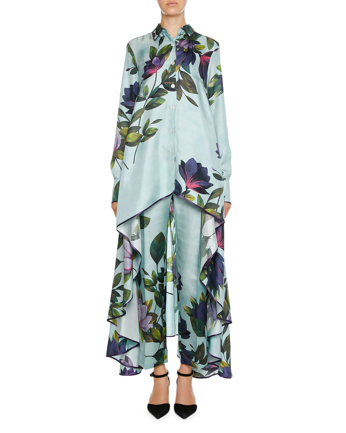 F.R.S FOR RESTLESS SLEEPERS Zephyrus Magnolia Print Twill Blouse in Blue Pattern