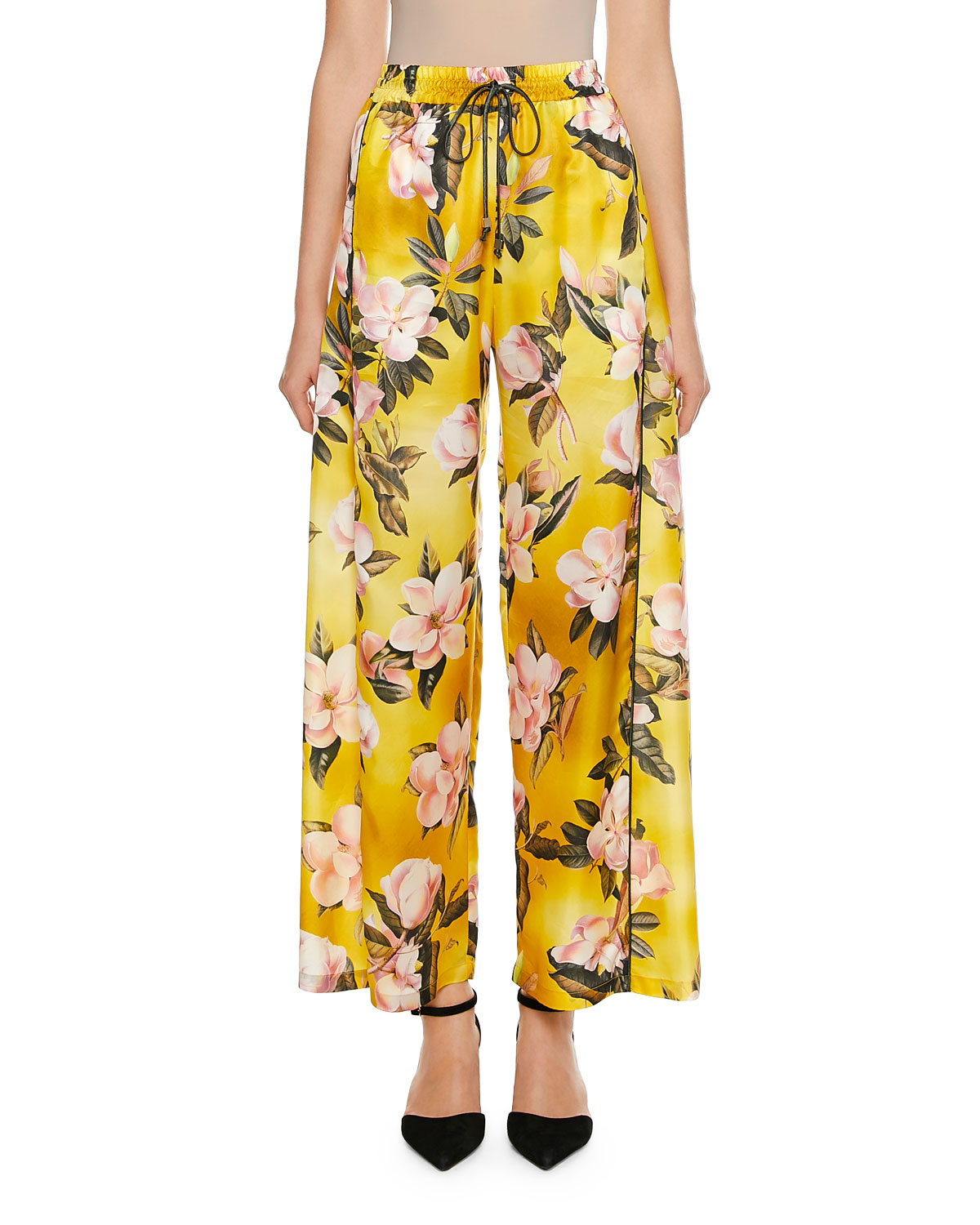 F.R.S FOR RESTLESS SLEEPERS Apate Cabotine Plumeria Print Pants in Yellow Pattern