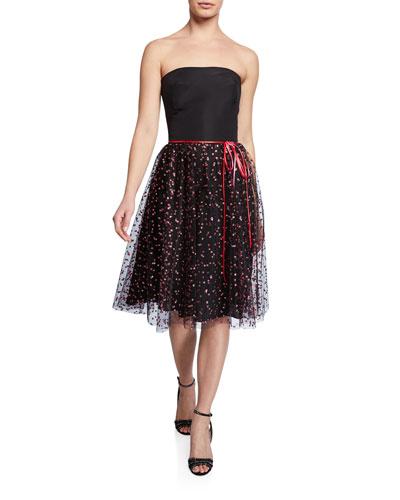 Strapless Shimmer Confetti Tulle Tea-Length Dress