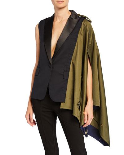 One-Shoulder Asymmetric Draped Blazer