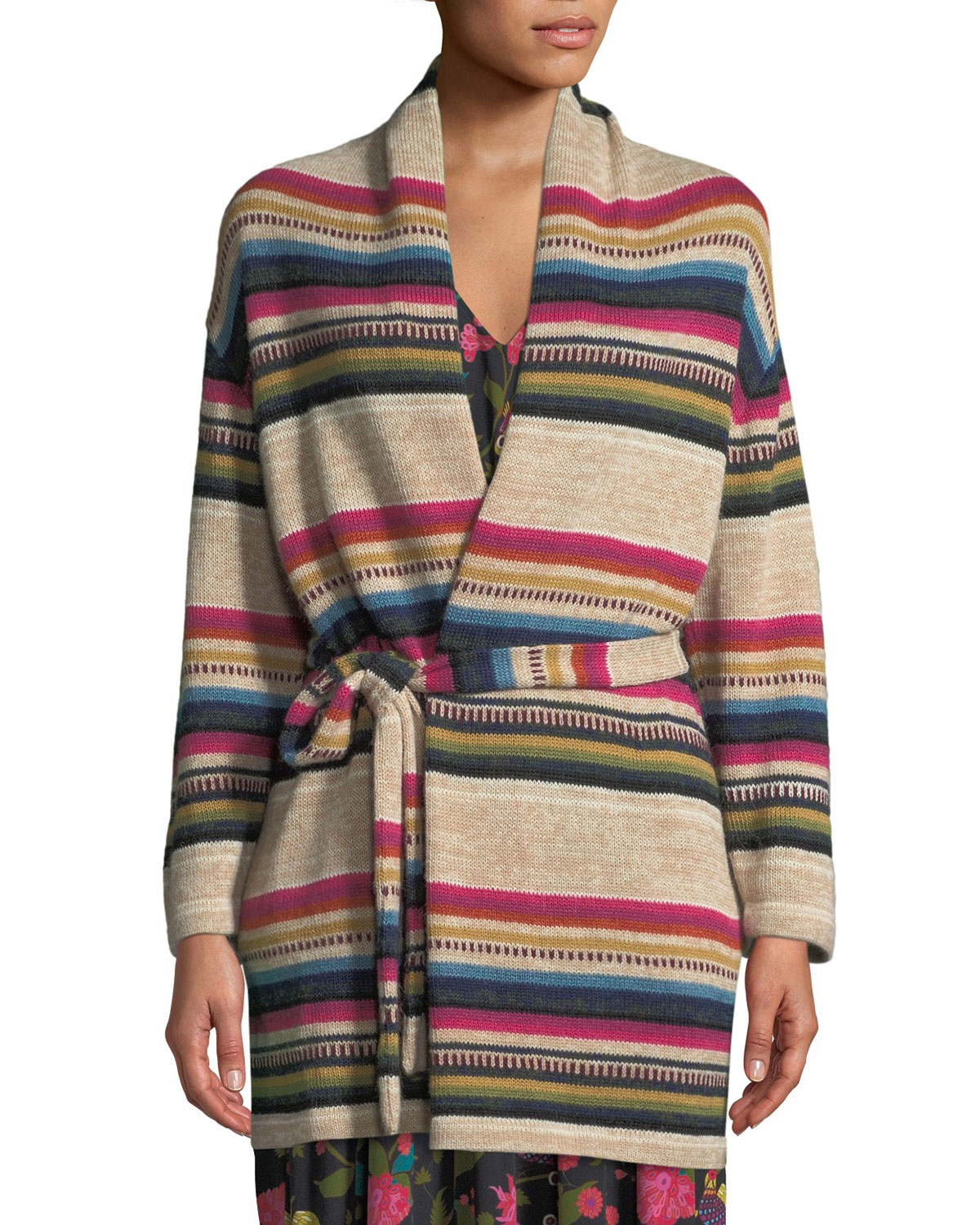 Figue Tops CAMILLE STRIPED WRAP-FRONT CARDIGAN