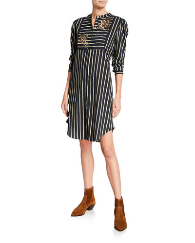 Perine Long-Sleeve Embroidered Striped Shirtdress