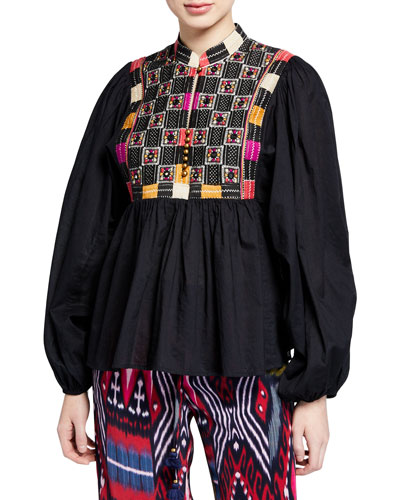 Nora Long-Sleeve Mirror-Embroidered Blouse