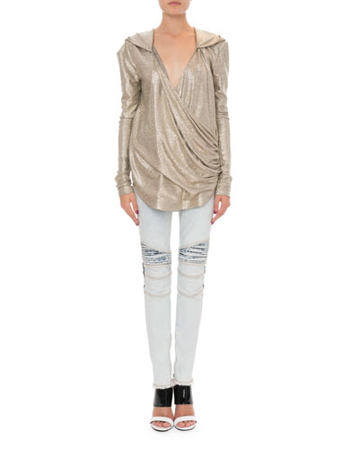Hooded Laminated Knit Wrap Top