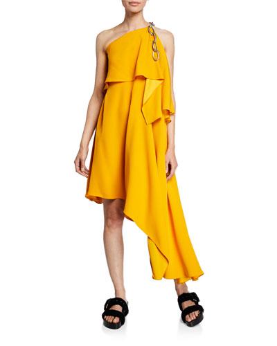 One-Shoulder Chain Draped Asymmetric Dress