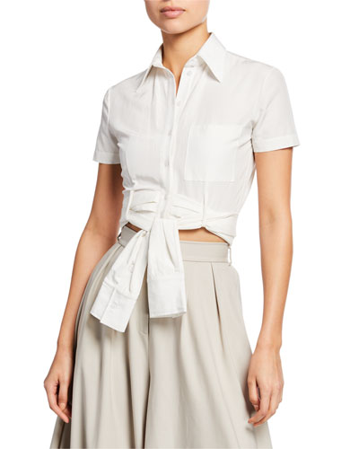 Wrapped Button-Front Tie-Waist Crop Top