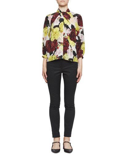 Arlette 3/4-Sleeve Large Floral Twist Top