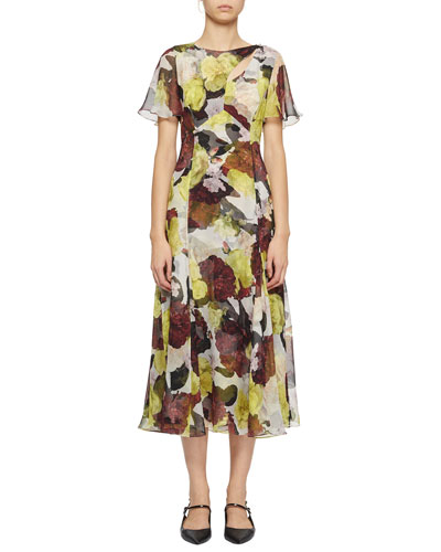 Flutter-Sleeve Floral Silk Cutout Midi Dress