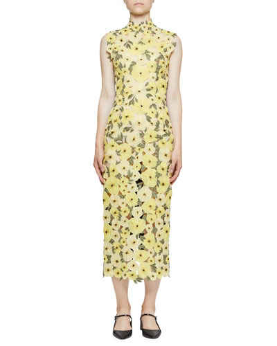 Floral-Embroidered Organza Mock-Neck Midi Dress