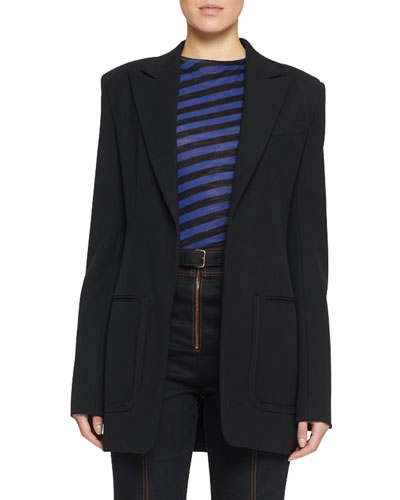 Stretch Wool Long Blazer
