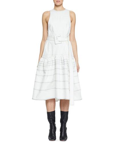 Belted Drop-Waist Cotton Dress with Pockets