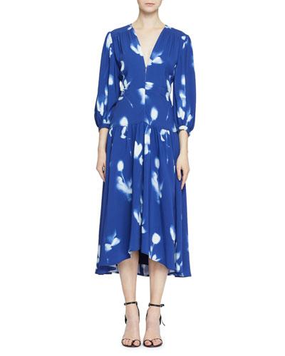3/4-Sleeve Tie-Dye Cady Dress