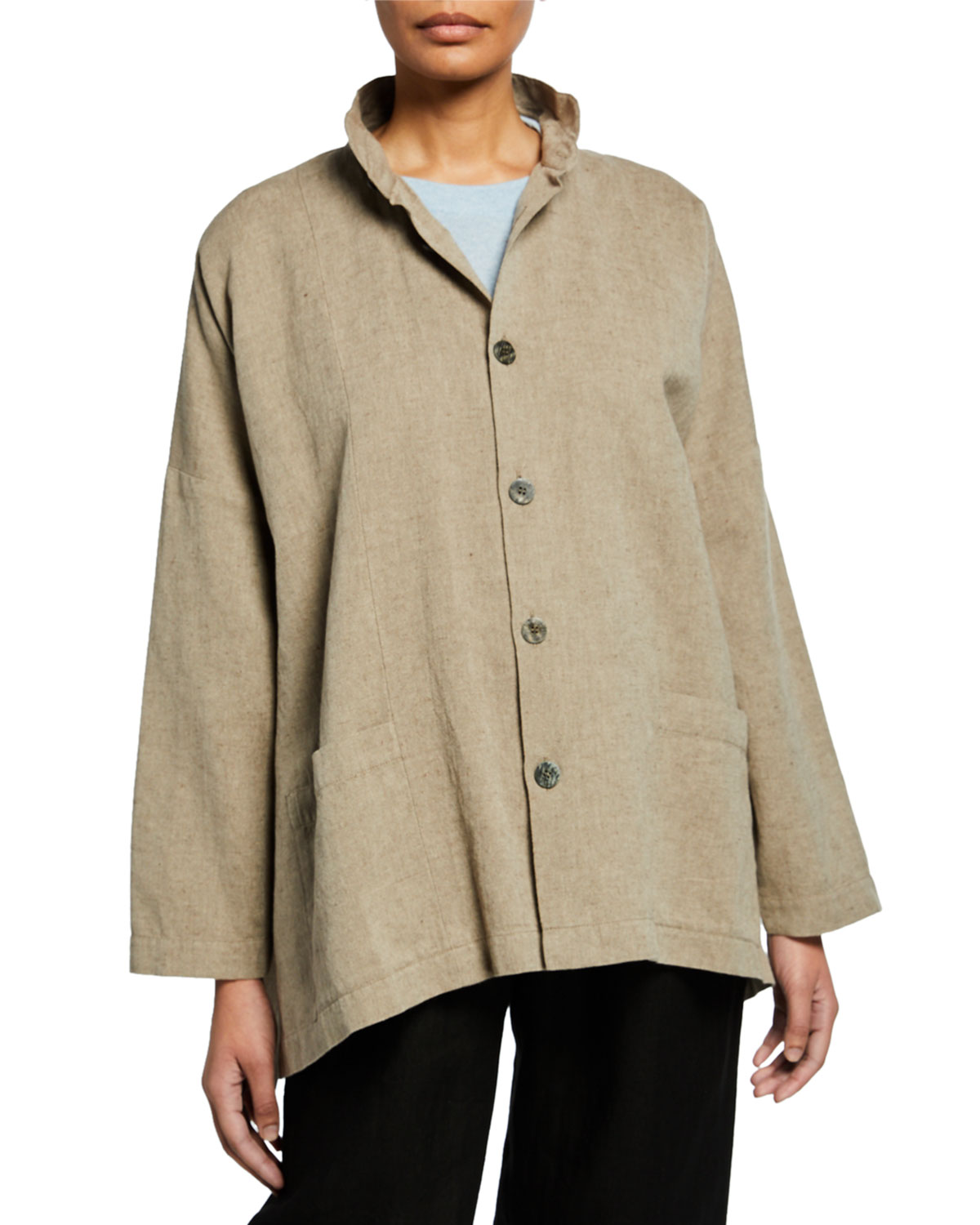 Eskandar Jackets SEAMED LINEN-COTTON HIGH-LOW JACKET