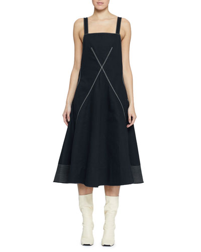 Sleeveless Cotton Square-Neck Dress