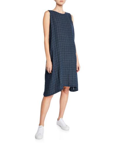 Grid-Woven Linen Sleeveless Midi Dress