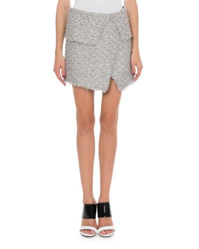 Shimmer Tweed Wrap Skirt