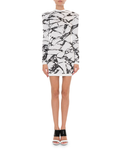 Marble Print Crewneck Long-Sleeve Dress