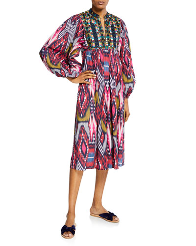 Nora Beaded-Yoke Ikat Print Dress