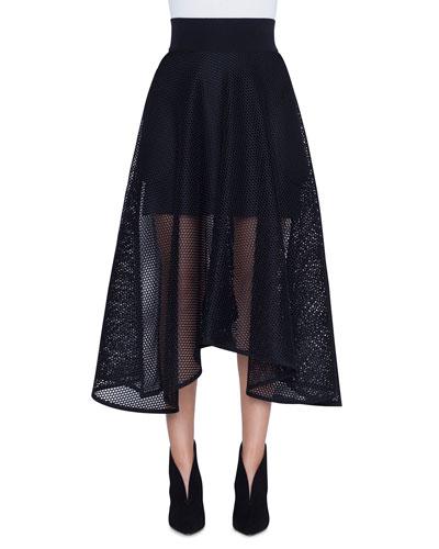 Long Techno Grid A-Line Skirt