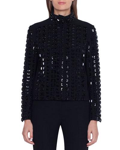 Andorra Stone-Embellished Zip Front Jacket