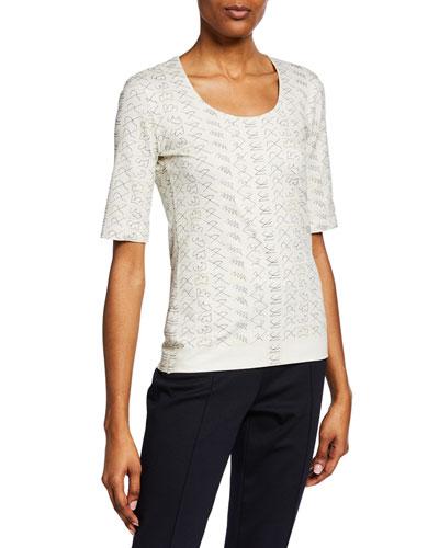 Short-Sleeve Leporello Printed Cotton Jersey T-Shirt